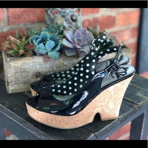 FERGALICIOUS BY FERGIE BLACK PATENT LEATHER WEDGE